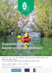 Evenement Creney près Troyes Balade Kayak dans la forêt immergée