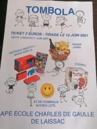 Evenement Arvieu Tombola de l'APE Ecole Charles de Gaulle de Laissac