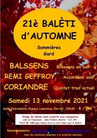 Evenement Souvignargues 21 ème Balèti d'Automne de Coriandre