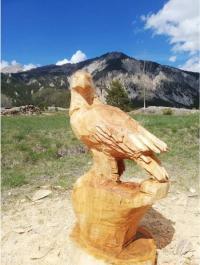 Evenement Molines en Queyras Sculptures réalisées à la tronçonneuse par Didier Charlot