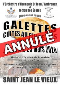 Evenement Brénod Vente de galettes cuites au feu de bois à Saint Jean le Vieux le 29 mars 2020