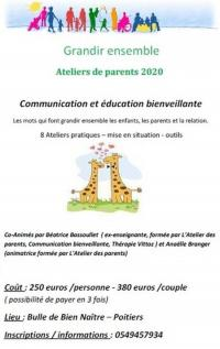 Evenement Poitiers Atelier des parents - Communication et Education Bienveillante
