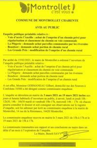 Evenement Brigueuil ALIENATION CHEMINS RURAUX