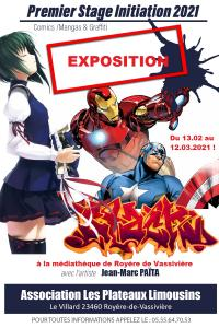 Evenement Vallière Exposition comics / mangas et graffiti à la médiathèque de Royère de Vassivière